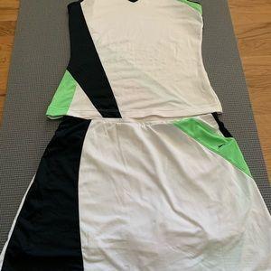 Lime green white black Slazenger tennis skort/top